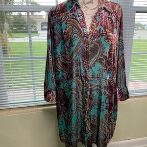 Chico's tunic top size 3 ( 18) velvet 3/4 sleeve